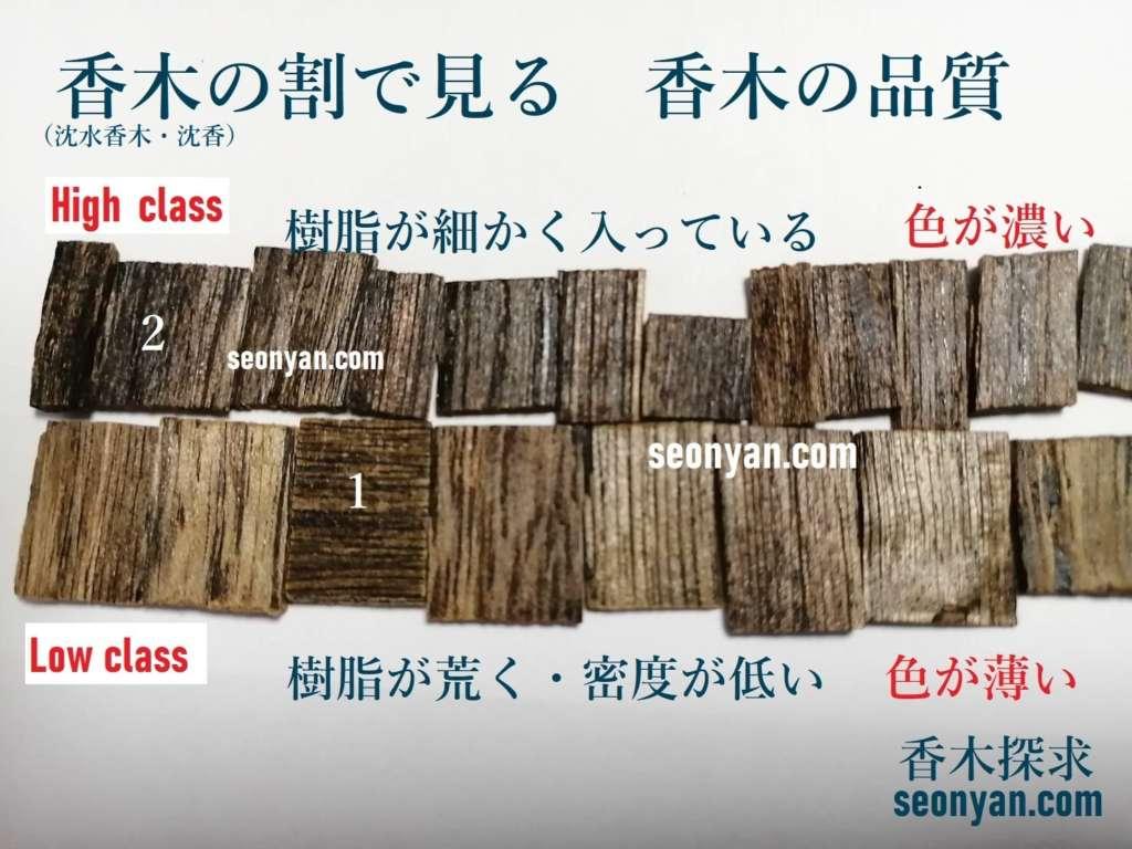 品質の見分けかた 香木(沈香)の割で見る 香木の品質